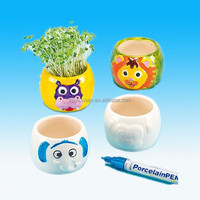 Animal Face Porcelain Flower Pots for Kids to Paint
