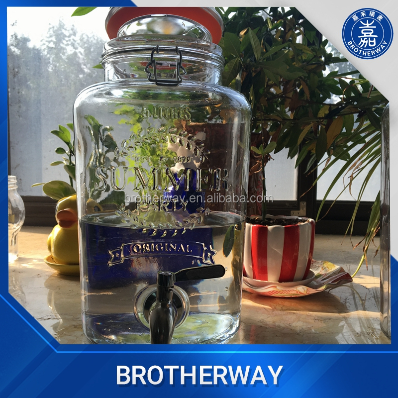 5L high quality swing top glass storage jar container with stainless steel tap