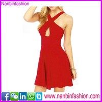 2015 new fashion red hollw out formal dress