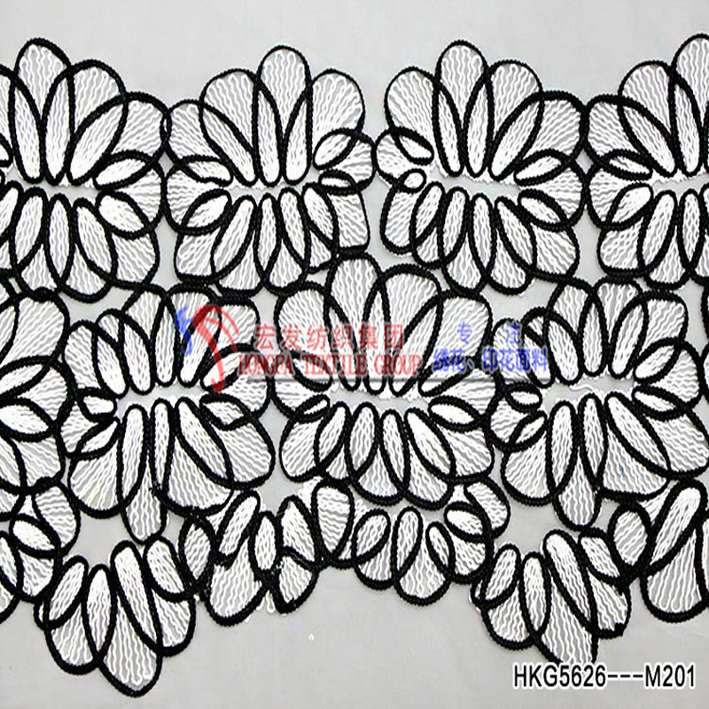 Soft Mesh High Quality Cord Applique Embroidery For Wedding Dress /Curtain