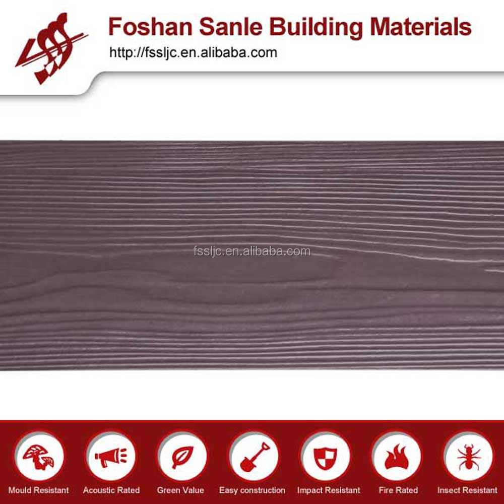 High density Wood Grain Fiber Cement Board for Exterior Siding, Tiled Walls, outdoor Flooring