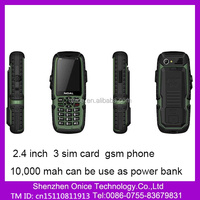 S12 2.4 Inch Simple Mobile Phone with GPRS Bluetooth torch 10,000 mah big battery mobile phone 3 Sim Card Feature Mobile Phone