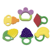 Safety Silicone Biting Teething Teether Ring Rattles Balls Toys For Baby