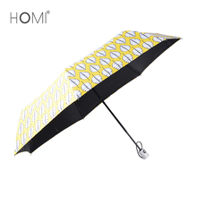 Chinese wholesale fashion new design leaves print mini auto open 3 fold parasol umbrella