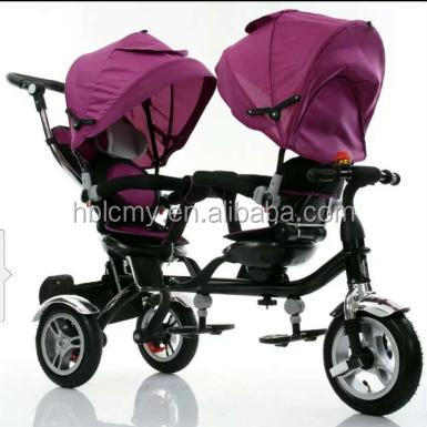 Rotate seat tricycle for twins / cheap trike double seat / children twin tricycle with sunshade