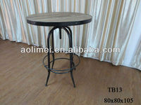 antique metal industrial bar table