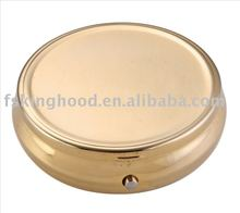 EU market golden small round metal pill box/ personal care gift