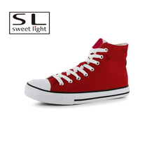 Men's Classic Breathable Red High Top Canvas Shoes men