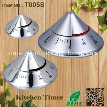mechanical kitchen stainless steel cone shape timer
