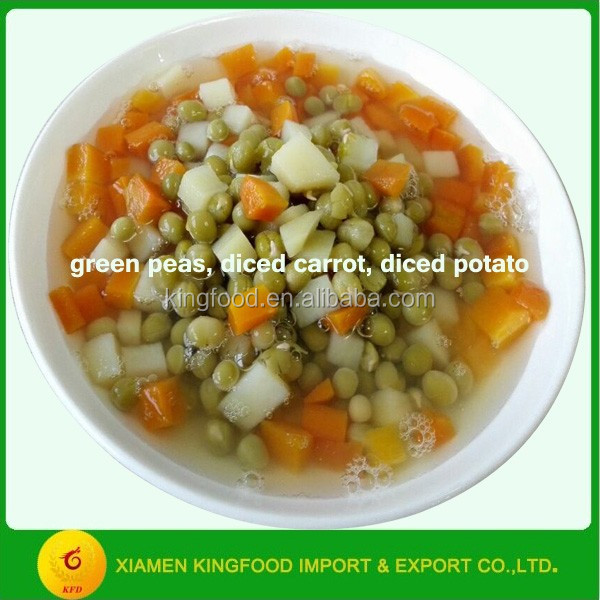 canned mixed fresh vegetables with three kinds of vegetables