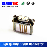 Straight Solder D-sub 2 Rows Long Gold 9 Pin Female DB9 Connector