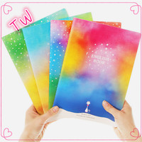 Free sample free pictures of stationery items note book with pen ,Rainbow paper hardcover notebook best quality cheape sale