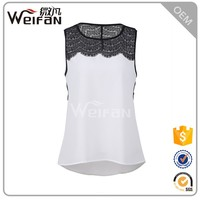 Hot Selling Leisure Style Hollow Out Ladies Tank Tops And Lace Blouses