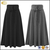 Ecoach Wholesale OEM Latest Design Women High Waist Lace Up Super Soft Pleated Solid A-Line Maxi Skirt