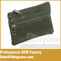 Coin Holder Leather Zip Coin Pouch Wallet Case