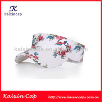 Floral Sun Visor Caps/ Sports Caps With Woven Label