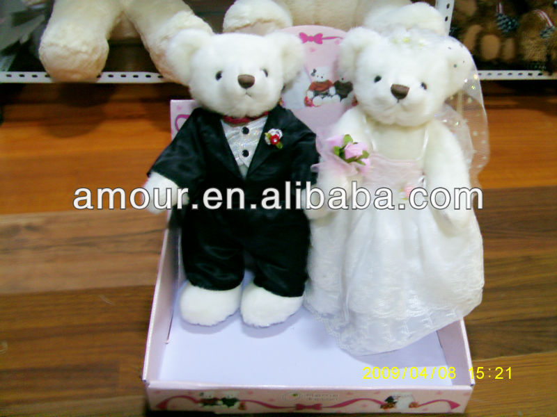 cute soft mini wedding bear stuffed little couple bear for wedding gifts new toys for christmas 2013 cheap wholesale