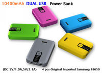2013 New High End 18650 Mobile Power Bank 10400mah Dual USB 3.1A