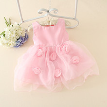 Lovely toddler dress girl pink party dress with rose fancy dresses for baby girl for 0-4 years old