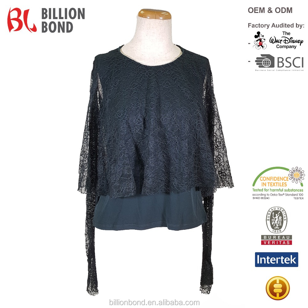 Long Sleeve Overlay Black Floral Lace Women Top Clothes