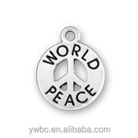 Wholesale antique silver plating world peace message peace sign circle charm free shipping