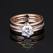 SAR7017 Three Color Plating Sterling Silver Cubic Zirconia Three Bands Ring Set