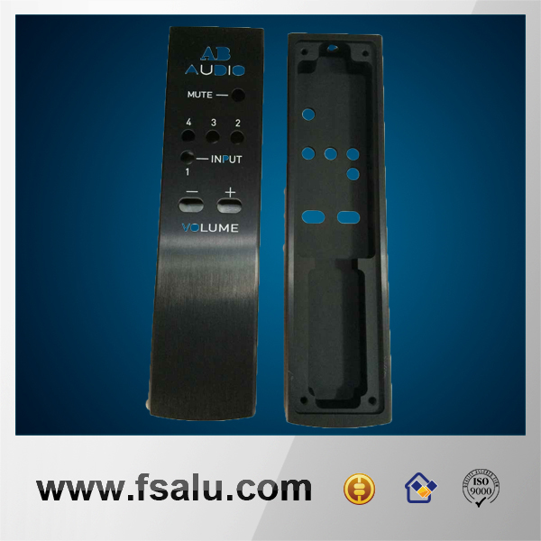 Black color aluminum TV remote control with silk screen text