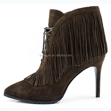 China wholesale fashion stiletto low boot office lady ideal present lace up pointed toe fringe sexy women shoe