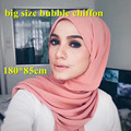 2017 hot selling big size bubble chiffon plain shawls solid color muslim long scarf/scarves islamic hijab GYW18