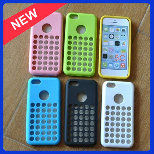 New Arrival Dot Hole Color TPU Case for iPhone 5C Polka Dot Silicon Cover Rubber Skin