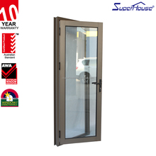 Superhouse unique hinged door glass door with aluminum profile frame for interior use