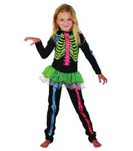 Halloween Carnival Party Colorful Girls Skeleton Dress Costume Halloween Costumes
