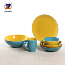 Hot sale brown gray two tone color glaze ceramic tableware stoneware dinner set