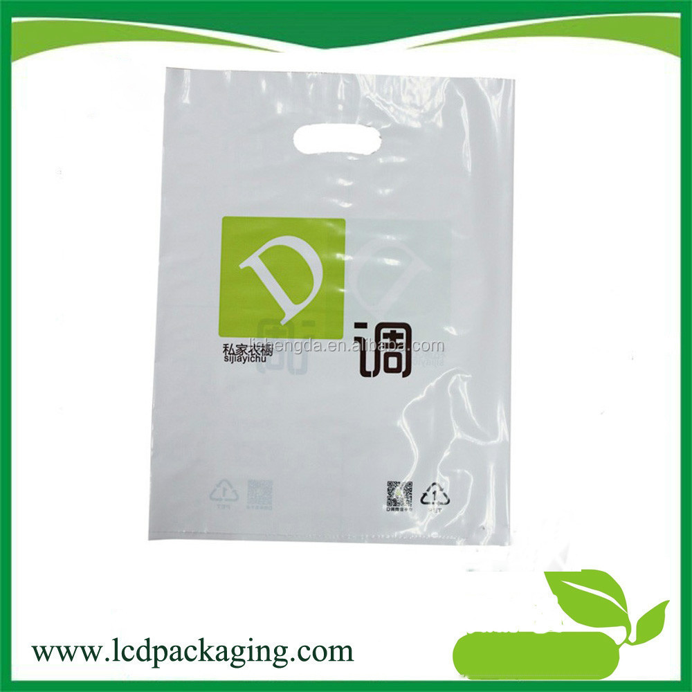 Disposable die cut handle plastic shopping bags for sale