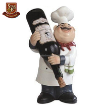 Wholesale high quality chef style resin cheap cute wine bottle holder