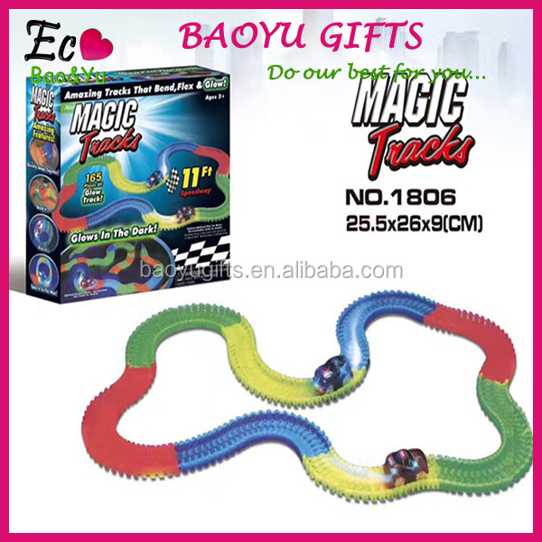 165/220/360 Pcs Magic Glow Race Tracks Glow In The Dark Tracks Race Car