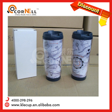 customized design 350ml double wall insulated plastic advertising coffee mug or bounce lid tumbler with printed paper insert