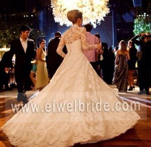 Hot sale lace long sleeve wedding dress for fat woman