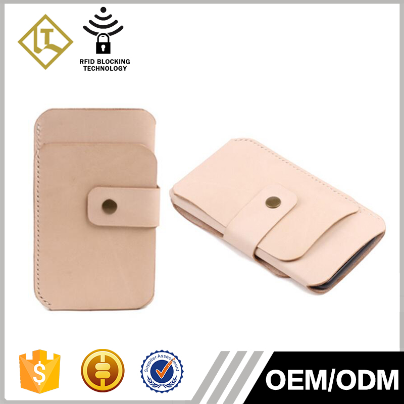 Top vegetable tanned genuine leather credit card holder wallet mini small card holder with phone case