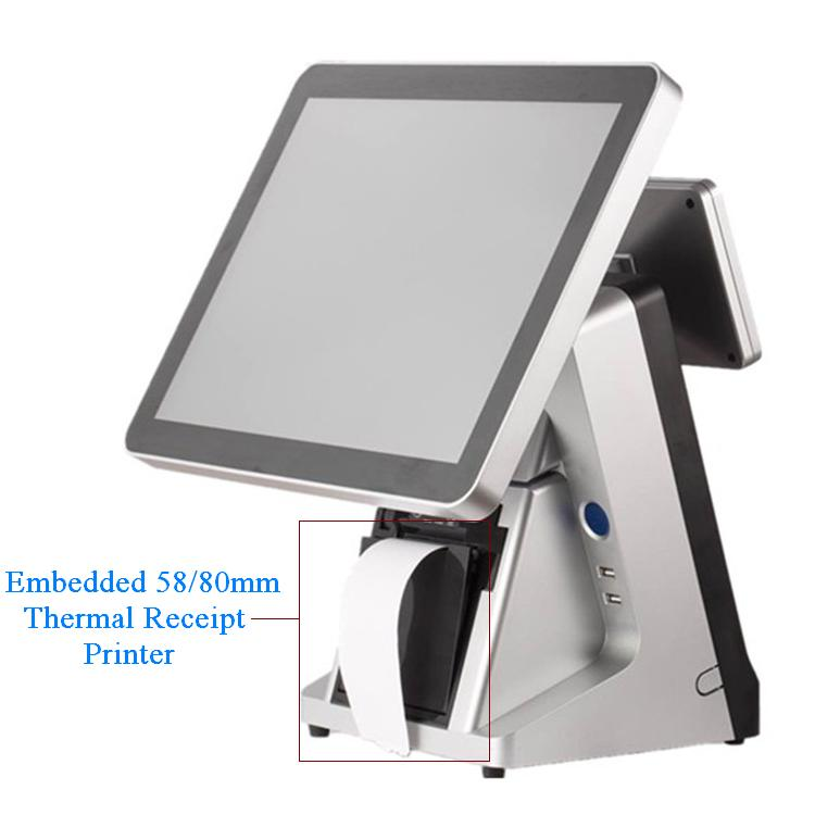 LKS-POS990 NEW 15 inch flat capacitive touch screen pos terminal with embedded MSR and 58 80 mm thermal printer
