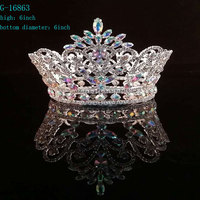 Wholesale AB rhinestone full round pageant crowns & tiara