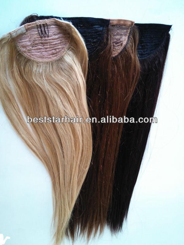 indian remy wrap around human hair ponytail Clip on hairpieces