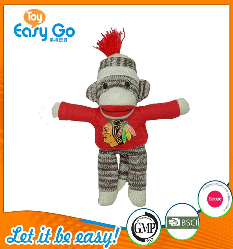 Customized brown knitted plush monkey toys