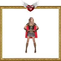 Halloween Adult Sexy Roman Warrior Gladiator Fancy Dress Costume for Ladies