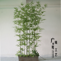 Customized Fake Green Bamboo Poles Plastic Leaves Artificial Plants for garden Outdoor Indoor Decoration