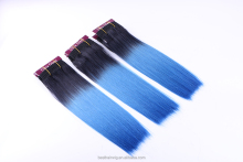 Accept paypal blue hair weave color dip dye ombre hair extension