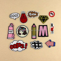 Fashion sets of 13PCS embroidery patches embroidered boom diamond stitch iron