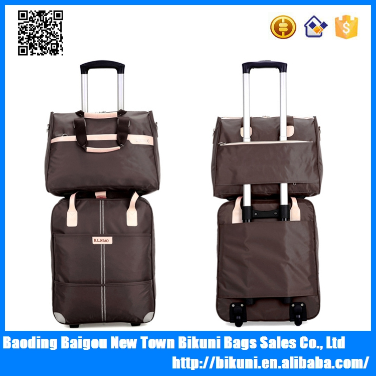 New fashion hot sales lightweight waterproof brown color school cheap promotional travel trolley bag