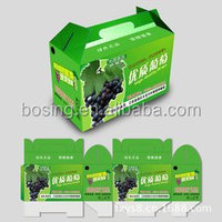 Fresh grape fruit packaging box with customized design and handle