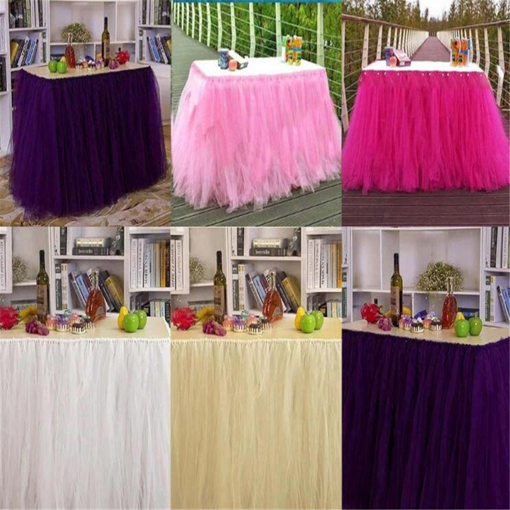 15CM * 100Y Tulle Tutu Table Skirt <strong>Wedding</strong> Decorate Birthday <strong>Wedding</strong> Baby Shower